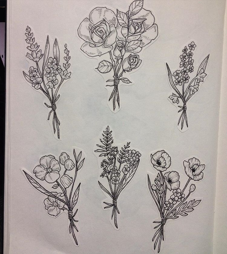 Wild Flowers Wildflowers Bouquet Art Illustration Ink Drawing