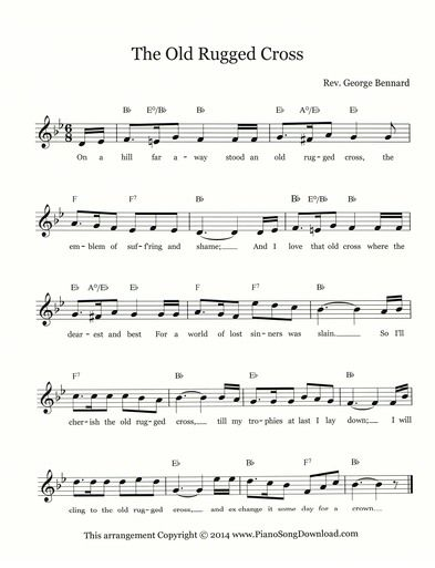 The Old Rugged Cross Lead Sheet | SHEET MUSIC | Pinterest | Sheet ...
