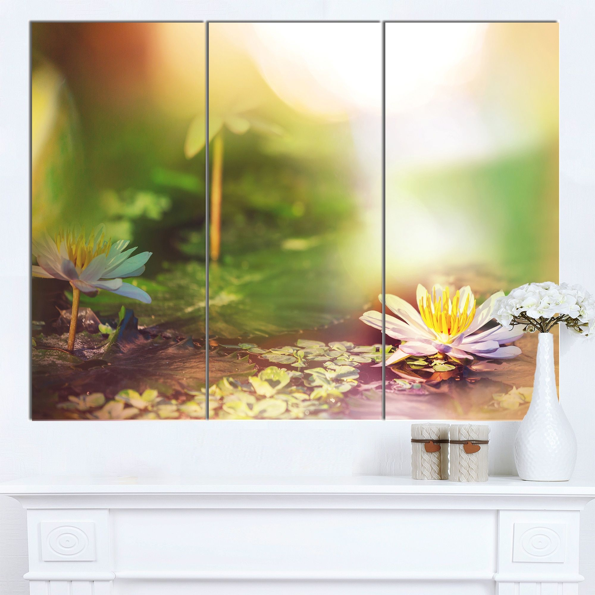 DESIGN ART Designart \'Lotus Flowers on Background\' Flower Wall ...