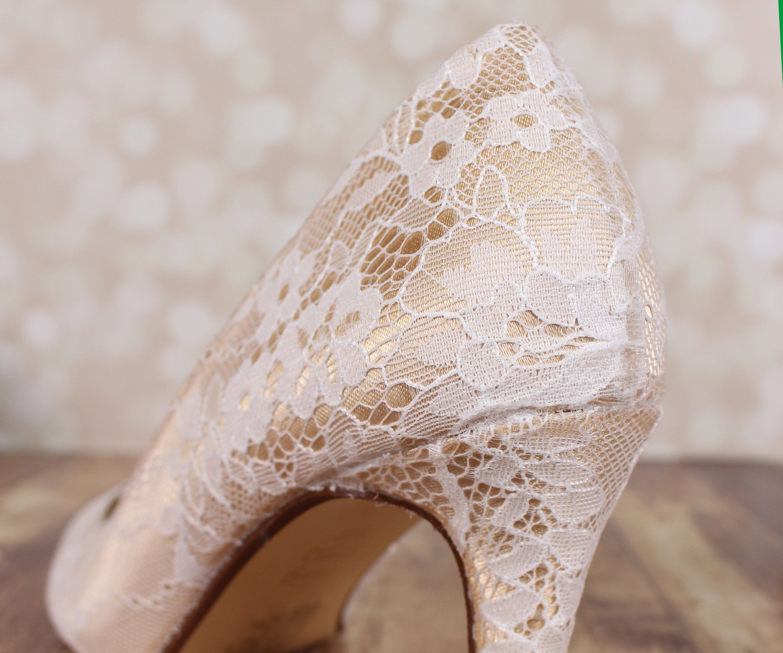 Gold Wedding Shoes For Bride Lace Bridal Shoes Lace Wedding
