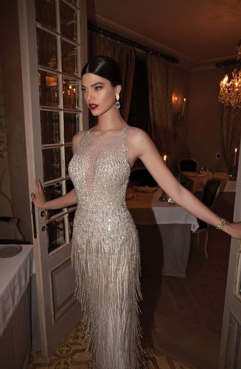20 Fringe Wedding Dresses That Catch An Eye 11 Glitter Halter Neckline Dress With