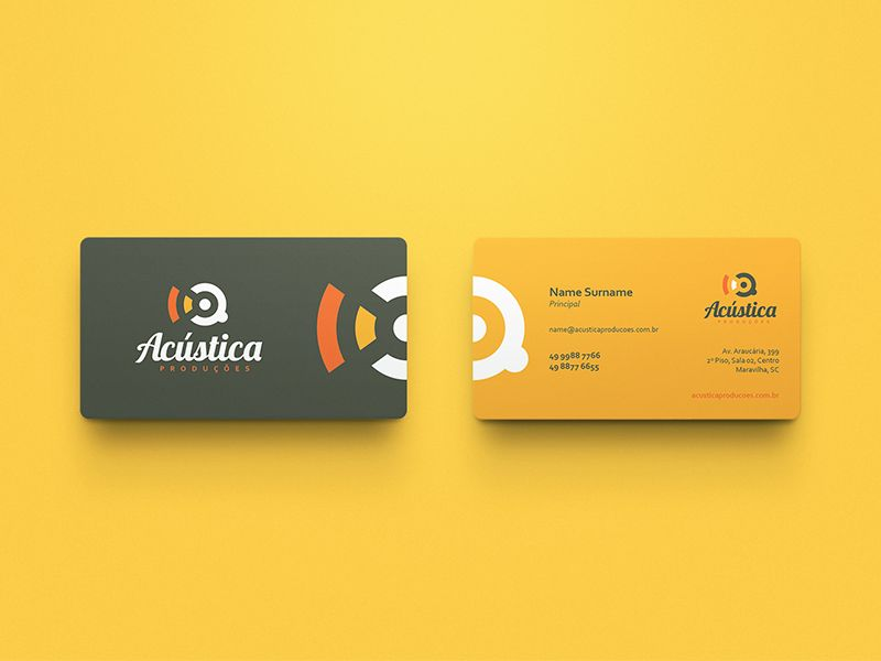 Logo and brand identity developed to Acústica Produções, Acoustic Productions in English, company that offers high quality services, like creating and editing audio files, CDs recording, with skill...