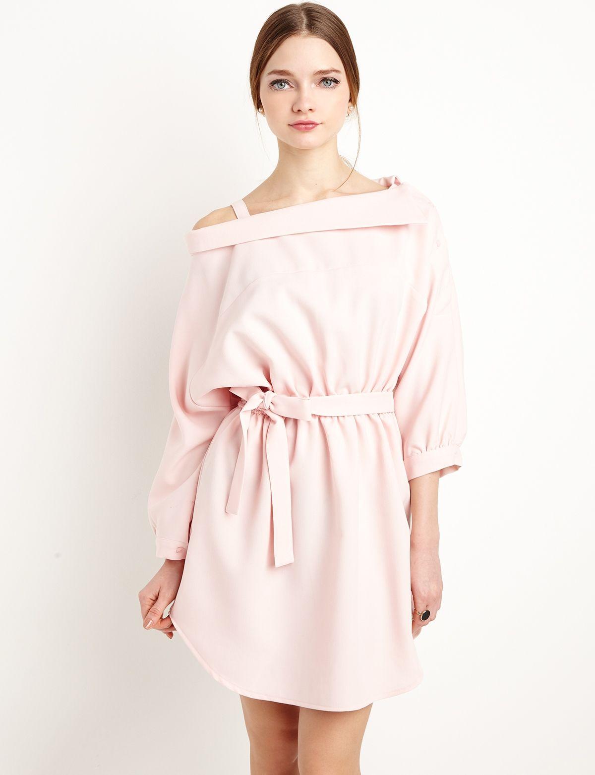 Pale pink off the shoulder shirt dress fashion pixiemarket roupa