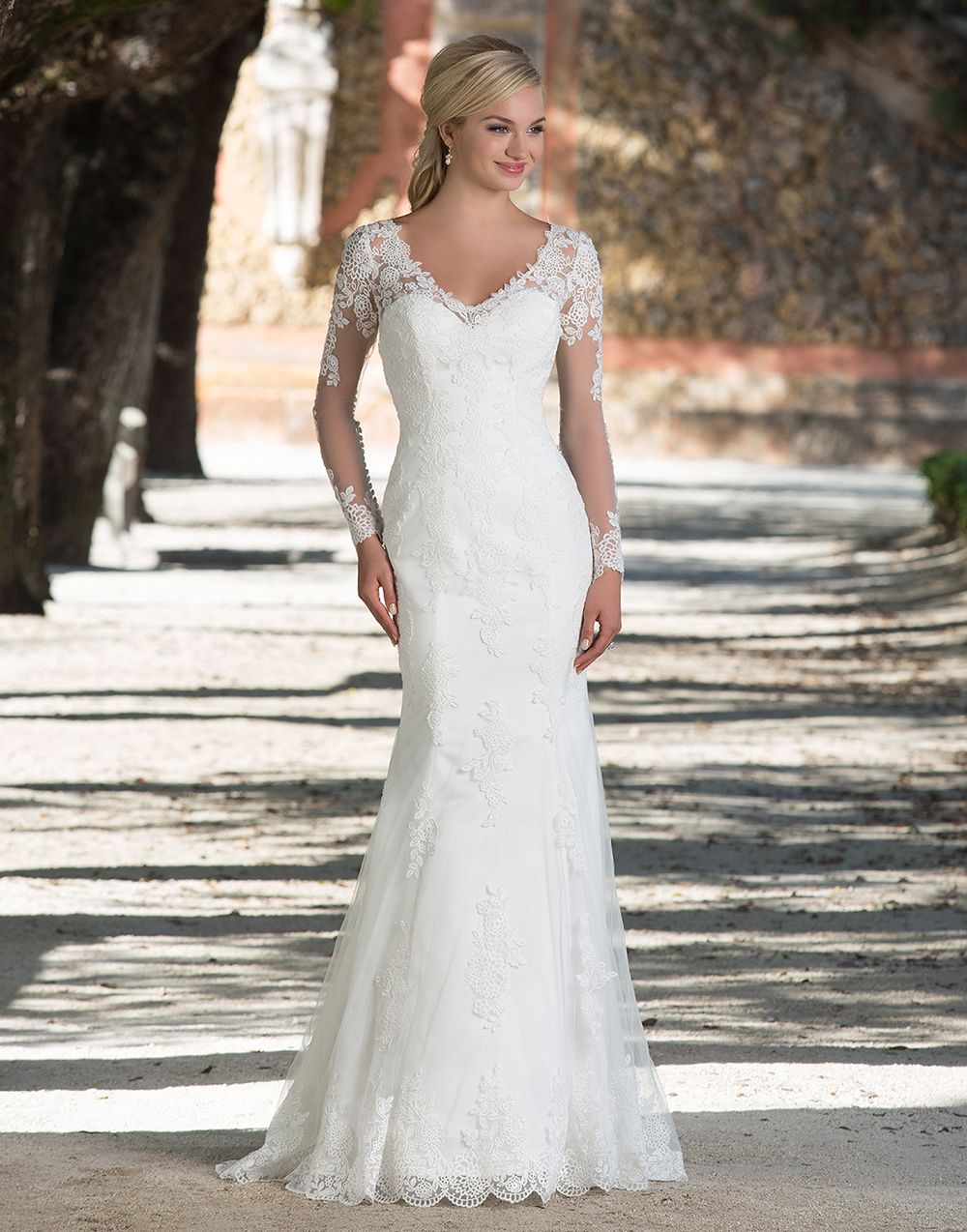 Sincerity wedding dress style 3898 | Illusion lace and tulle long ...