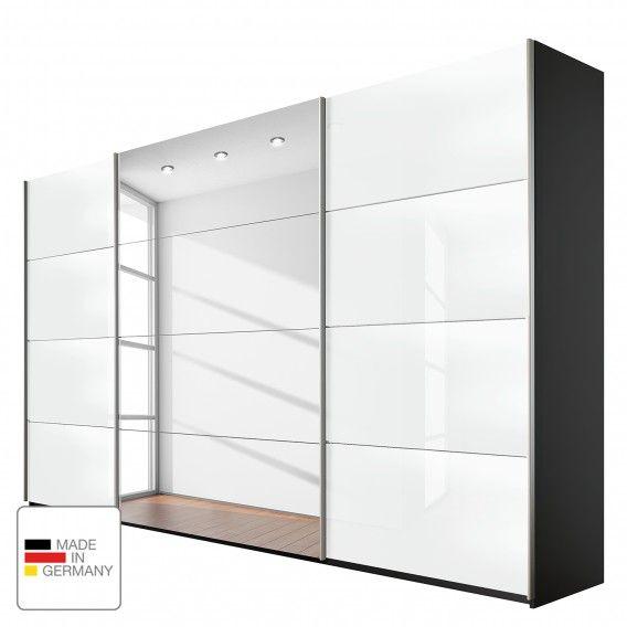 Schwebetürenschrank spiegelfront  Schwebetürenschrank Quadra (Spiegel) - Grau-metallic / Glas Weiß ...