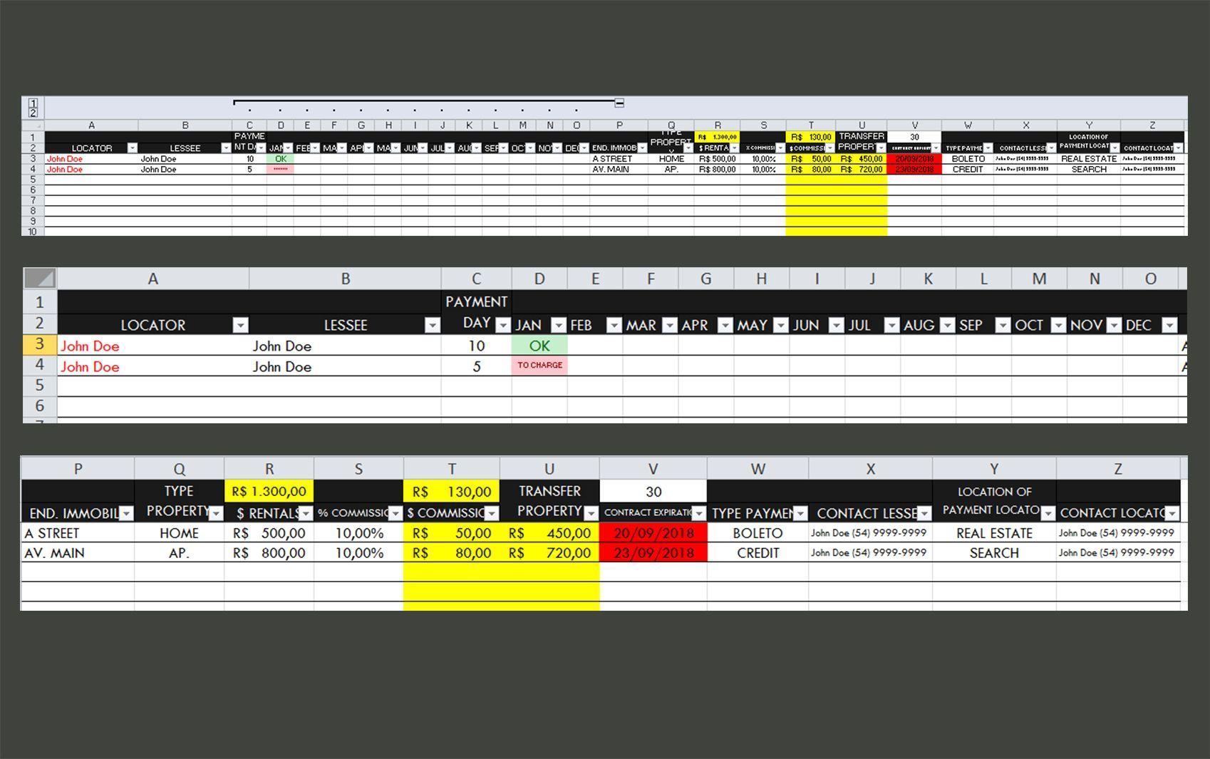 Rental Control Excel Spreadsheet