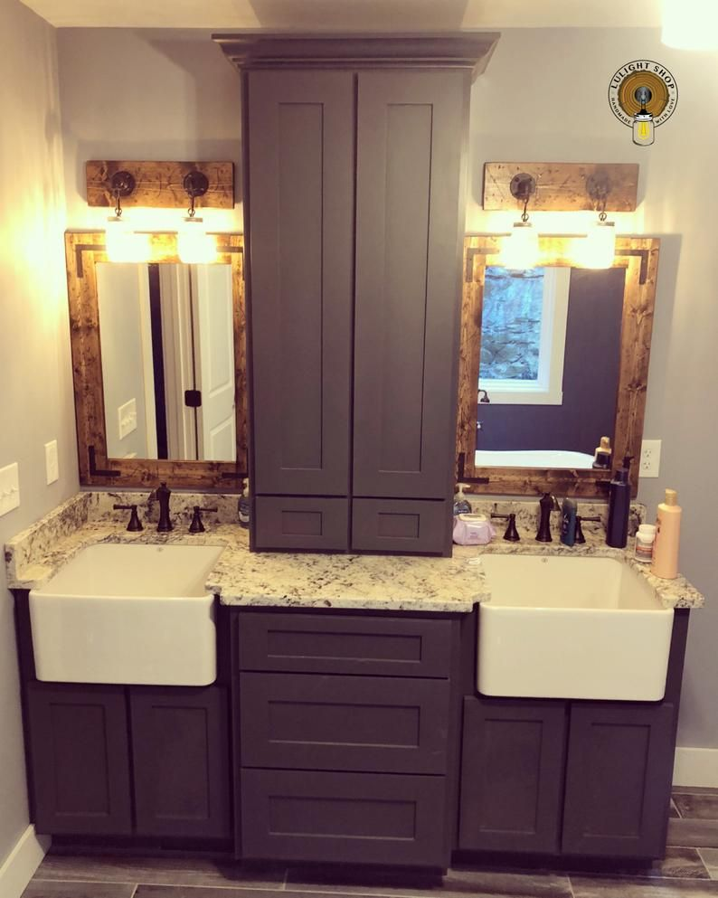 Bathroom set rustic distressed mirror light fixture etsy