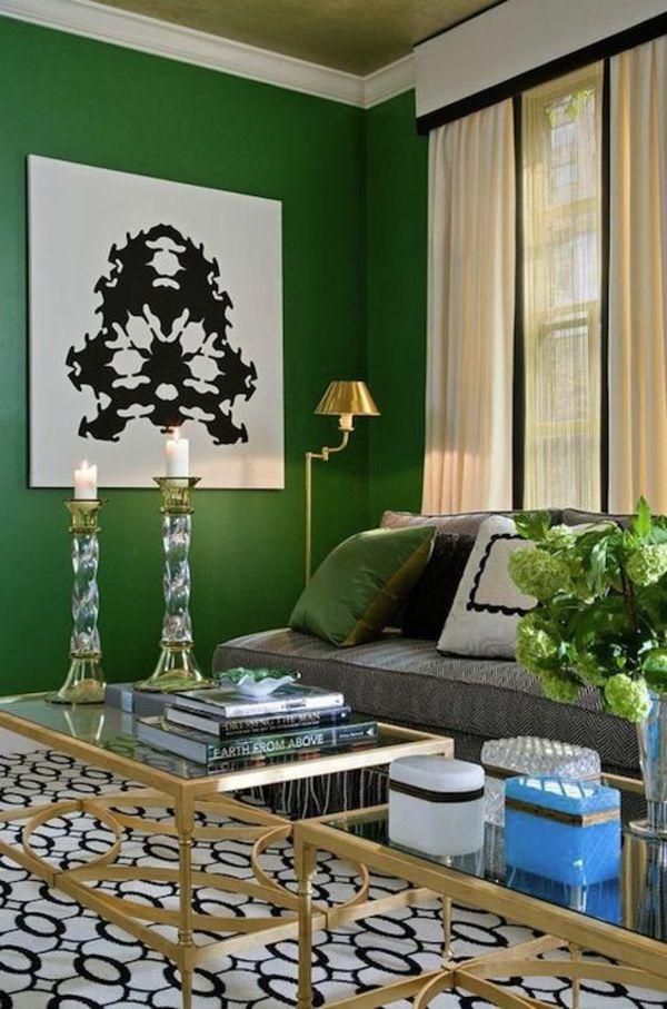 wandfarbe grün farbideen wandgestaltung wohnzimmer mapa Pinterest