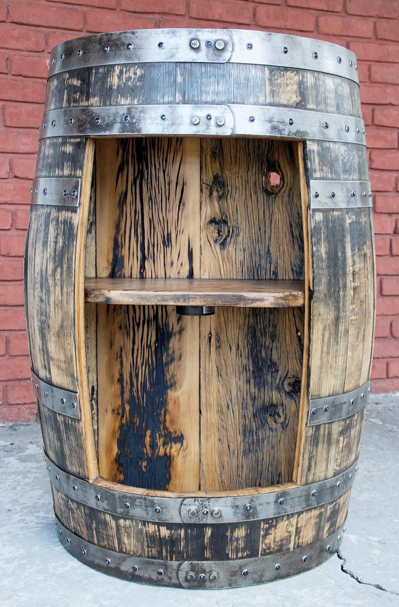 Half Bourbon Barrel Liquor Cabinet Shelf With Led Lights Etsy In 2020 Bourbon Barrel Barrel Bourbon Barrel Bar