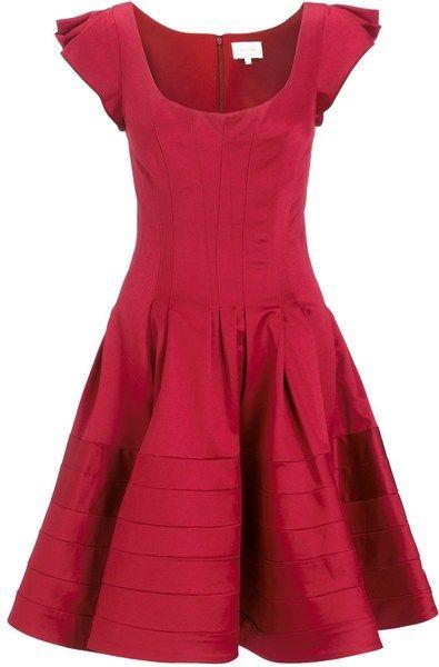 Zac Posen Flared Dress in Red (burgundy) - Lyst