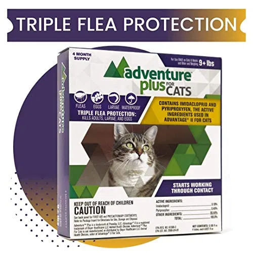 Adventure Plus Triple Flea Protection For Cats 9 Lbs And Over Fleas Frontline Plus For Cats Cat Medicine