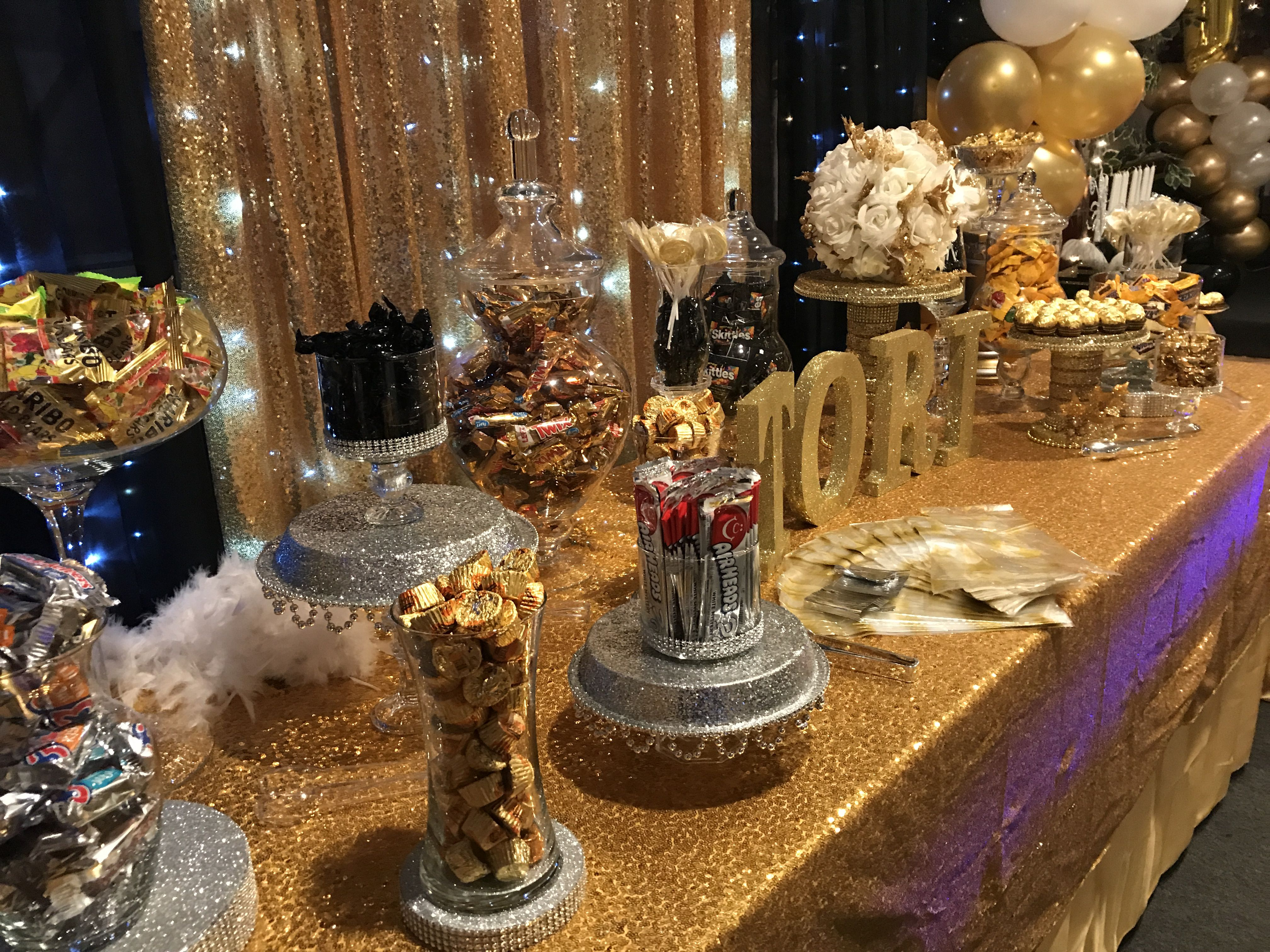 Sweet 16 Candy Bar In Black Gold And White Great Gatsby Theme