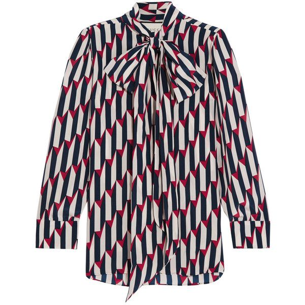 a6e6841f85a Gucci Pussy-bow printed silk crepe de chine shirt (7
