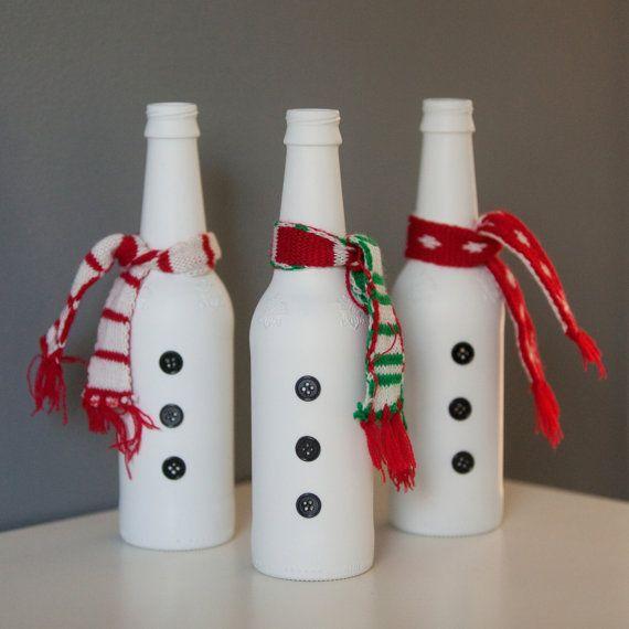 Beer Bottle Decoration Beer Bottle Snowmensplendidsmash On Etsy $1500  Holiday
