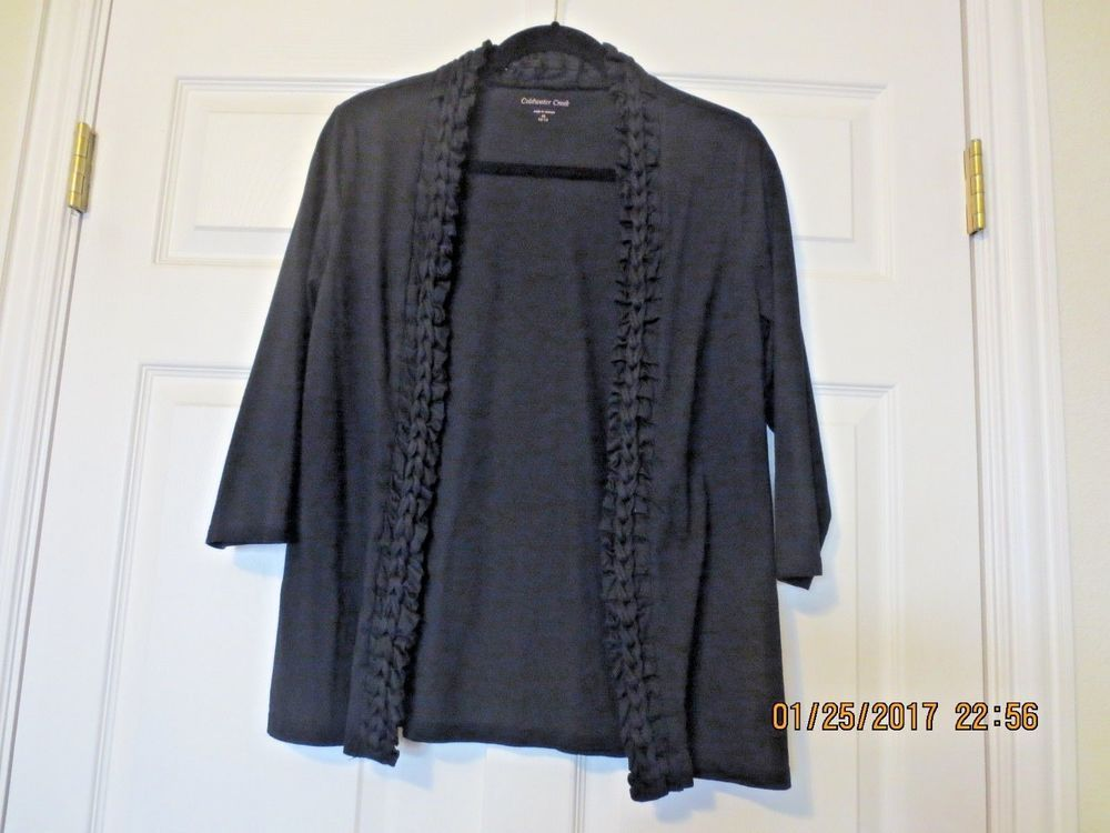 COLDWATER CREEK Women's Black Braided Ruched Open Front Cardigan M 10 12  #ColdwaterCreek #Cardigan