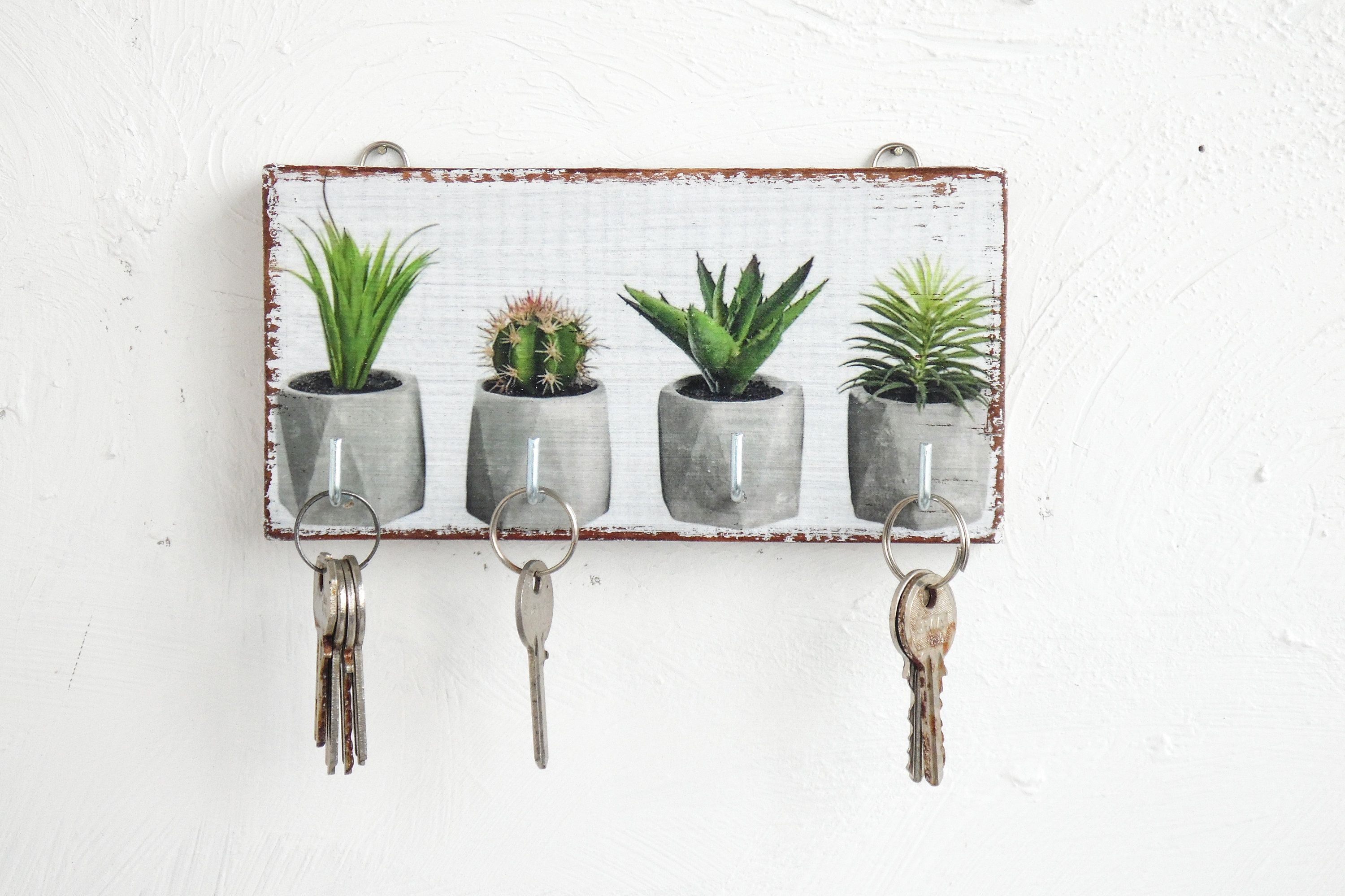 Wooden Plants Key Holder For Wall Housewarming Gift Plants Etsy