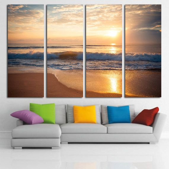 Sunset On Beach Canvas Print Sunrise Beach Art Canvas Print Sea