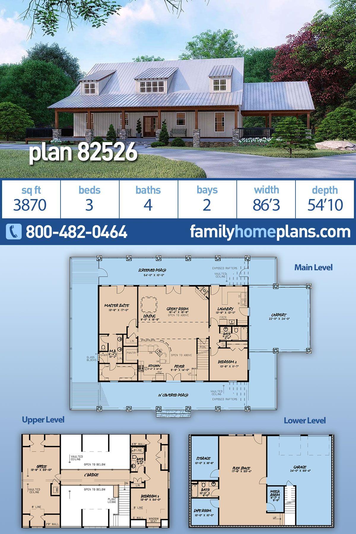 Farmhouse Style House Plan 82526 With 3 Bed 4 Bath 2 Car Garage House Plans Farmhouse Farmhouse Style House Barn House Plans