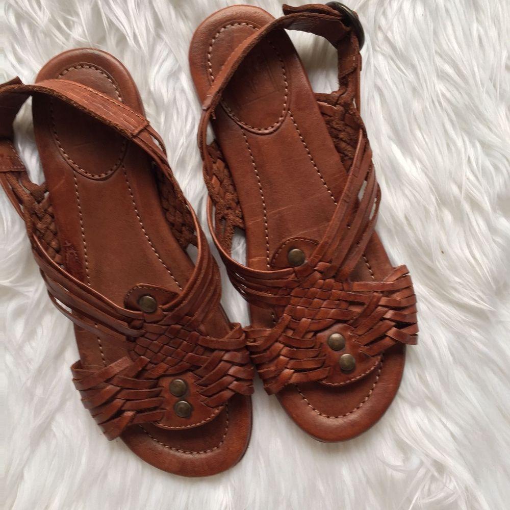 97e941bae19fe Frye Brown Cognac Jacey Huarache Slingback Leather Sandals 73218 Size 7 7B   Frye  Strappy