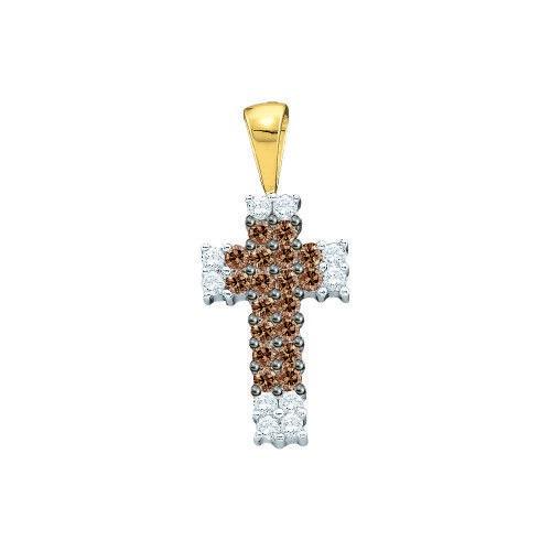 0.25ctw Cognac Diamond Ladies Cross Pendant, Women's
