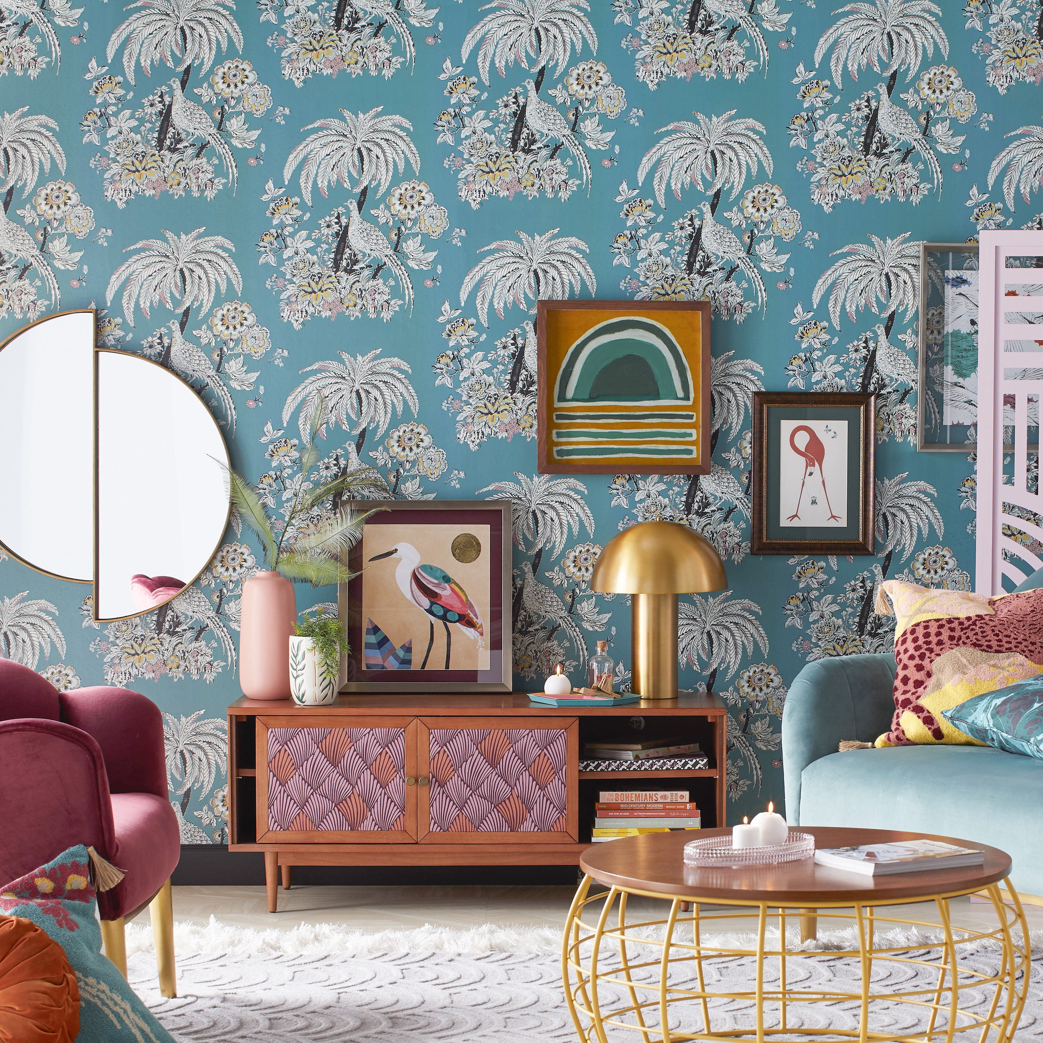 Tropical Toile Peel And Stick Wallpaper By Drew Barrymore Flower Home Teal Walmart Com Home Affordable Wallpaper Decor