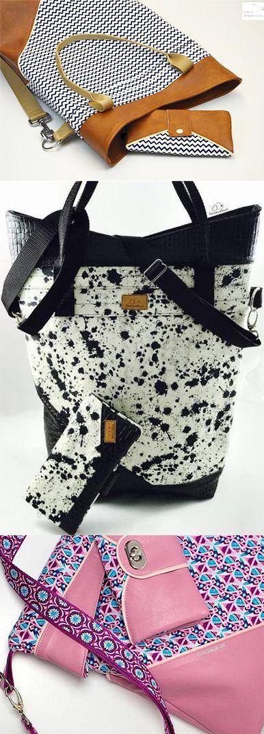 Moderne Tasche in verschiedenen Mustern nähen - Schnittmust… | Nähen ...