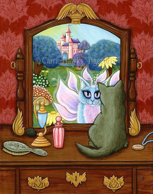 Fortune Teller Cat Psychic Tarot Card Art Queen of Cups Cat Circus Carnival Fantasy Cat Art ACEO  ATC Mini Print Cat Lover Gift