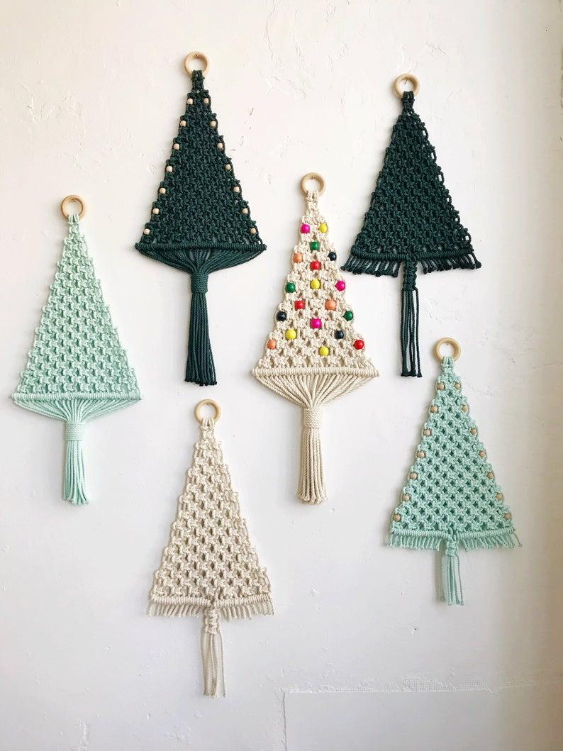 Macrame Christmas Tree Kit Holiday Home Decor Diy Project Macrame Christmas Tree Pattern Holiday Craft Macrame Kit In 2020 Macrame Patterns Christmas Tree Kit Macrame Wall Hanging Patterns