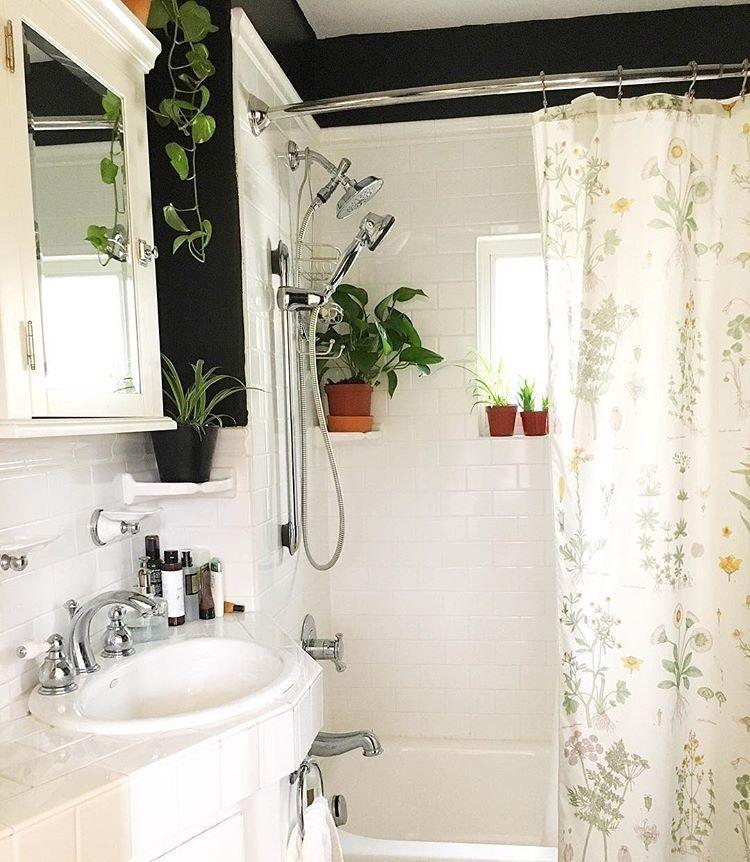 Bath Time : Plants And Ikea Botanical Curtain #bathroomdesign6x4