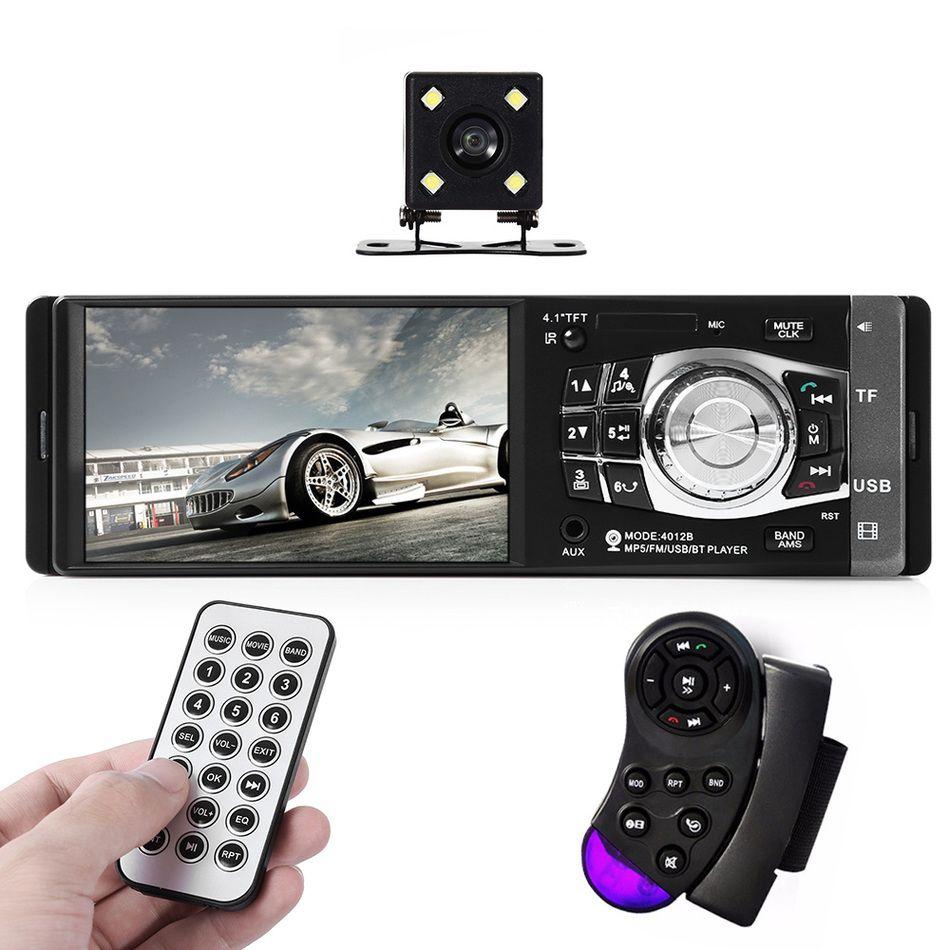 Rádio do carro Mp4 Mp5 Player 1 Din HD Com Câmera de Visão Traseira 4.1 Polegada Video Player Bluetooth Estéreo Controle Remoto AUX FM USB SD