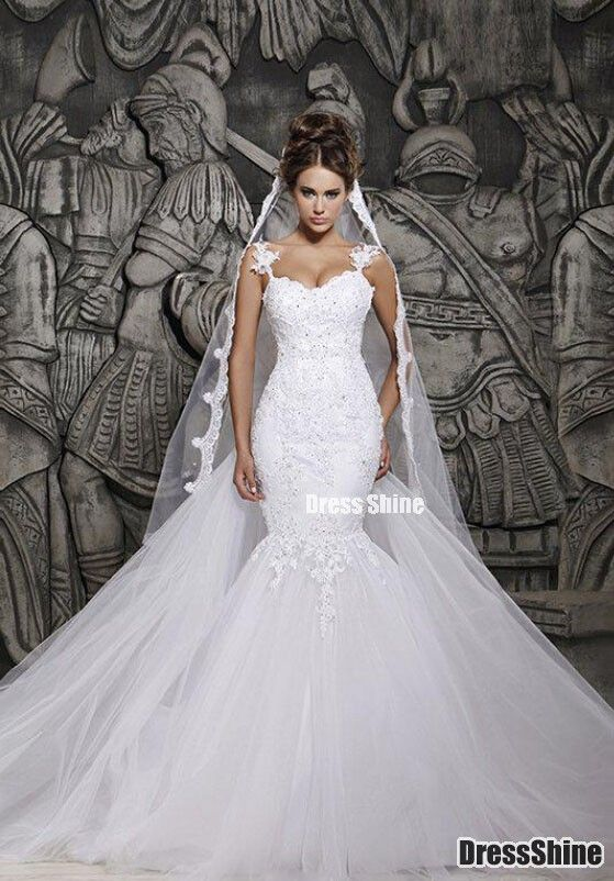 I like this - Custom Made Beautiful Court Train Illusion Transparent Back Beaded Lace Mermaid Wedding Dresses Bridal Gowns. Do you think I should buy it?