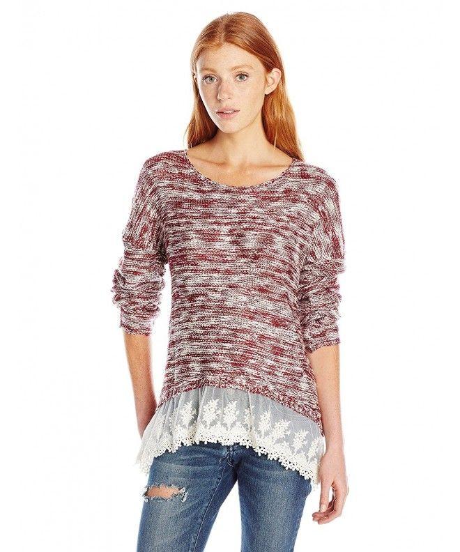 Women s Hi-Low Long Sleeve Sweater With Lace Trim Hem - Merlot Cream -  CI12LQVII4X fd38341b9