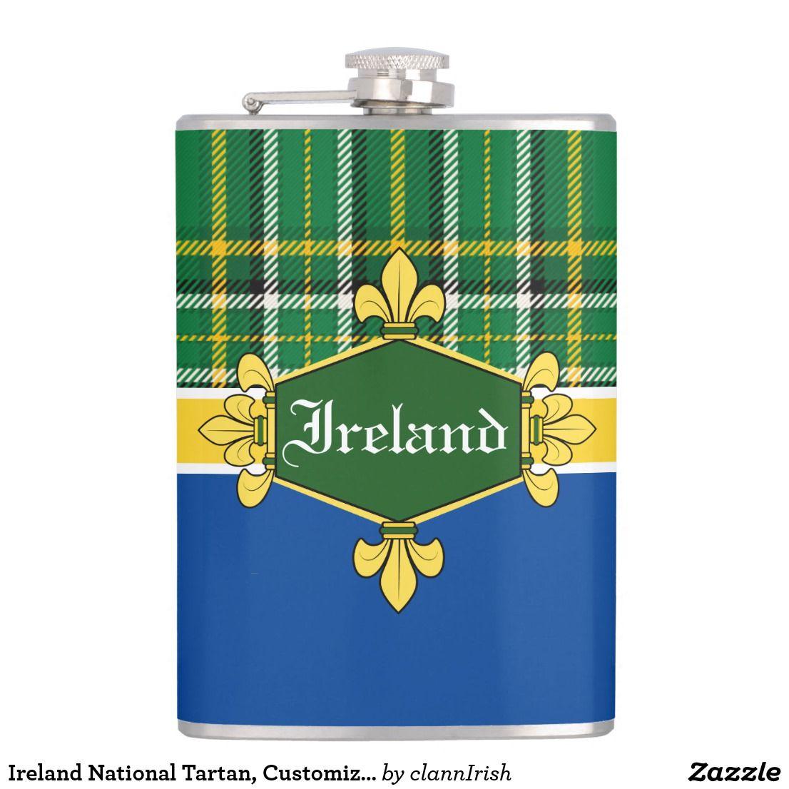 Ireland National Tartan, Customize with name Flask
