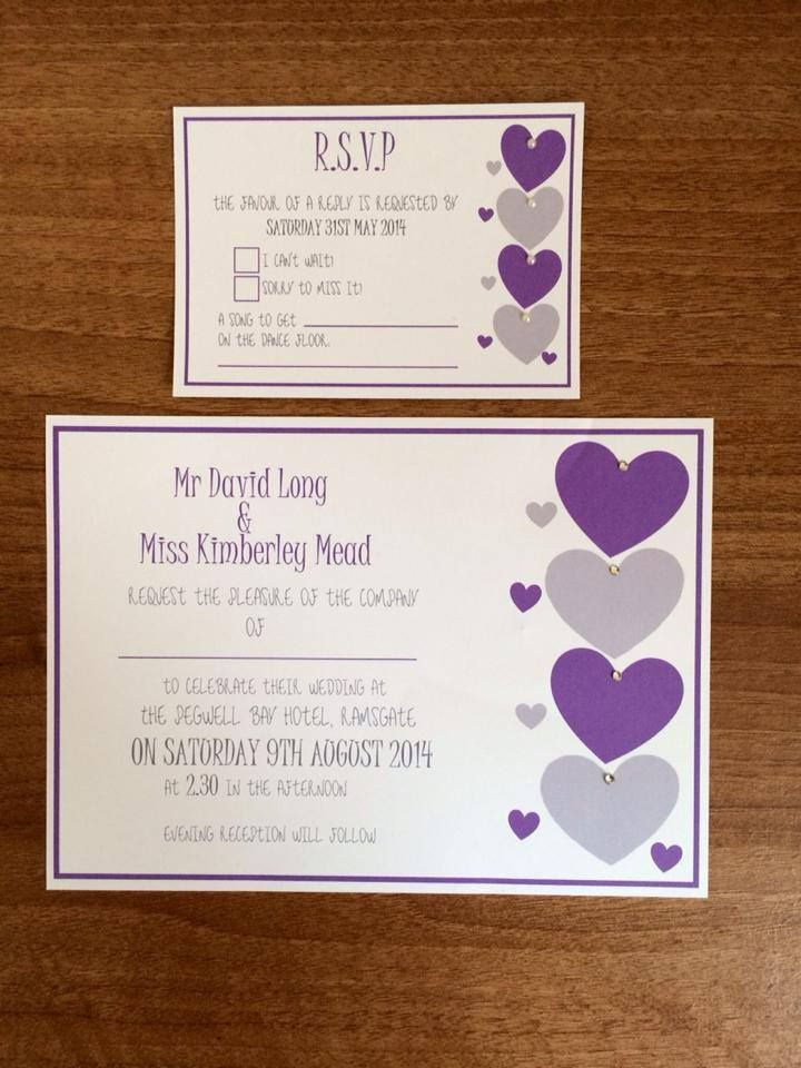 Love Heart Wedding Invitation with matching inserts Invitation is