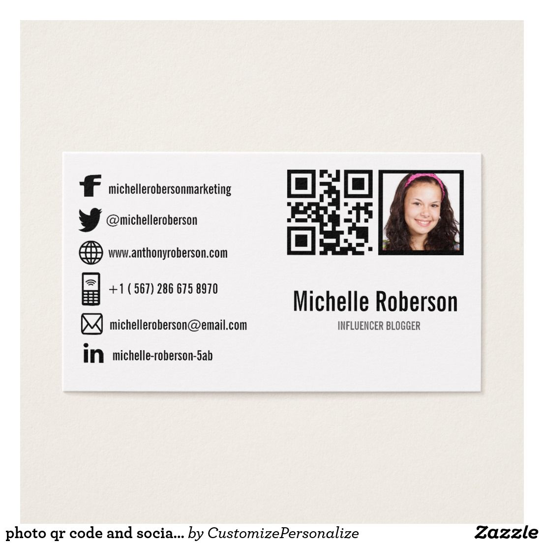 Photo qr code and social media icons business card pinterest photo qr code and social media icons business card colourmoves