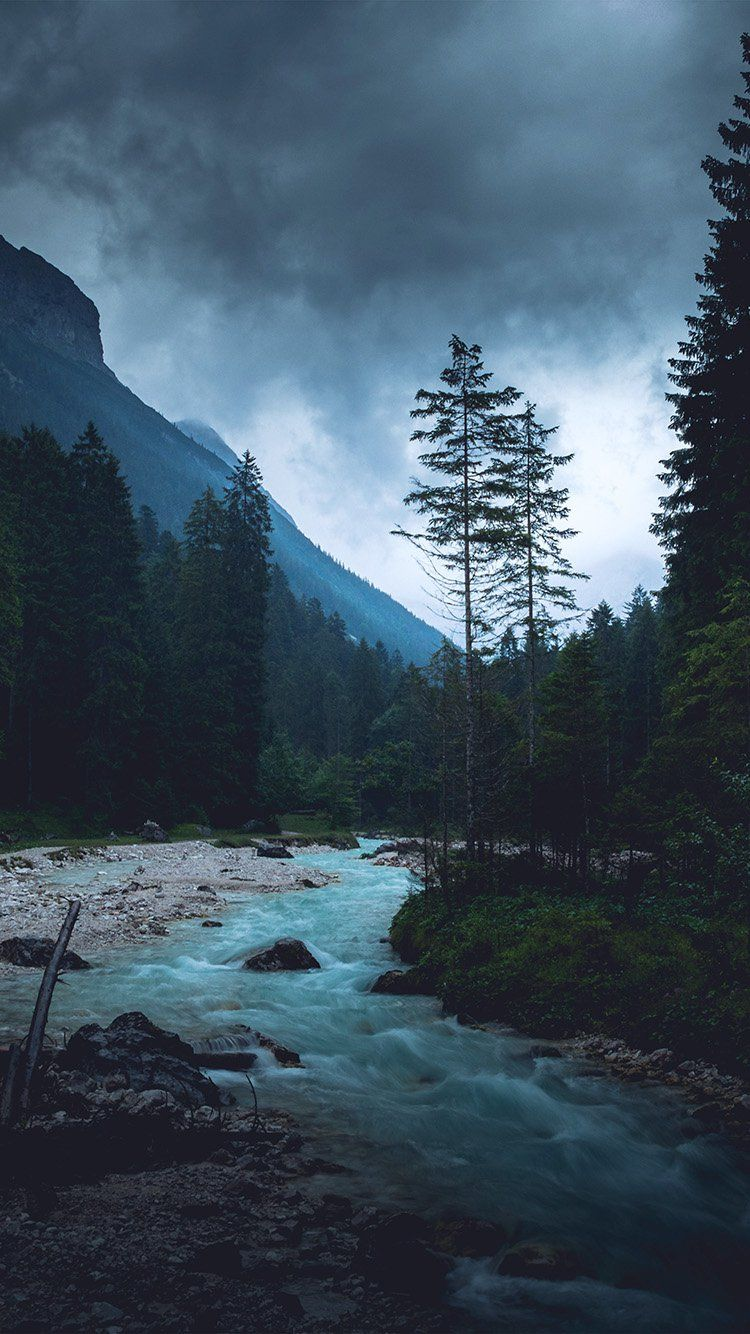 np32-mountain-wood-night-dark-river-nature-blue #darkiphonewallpaper