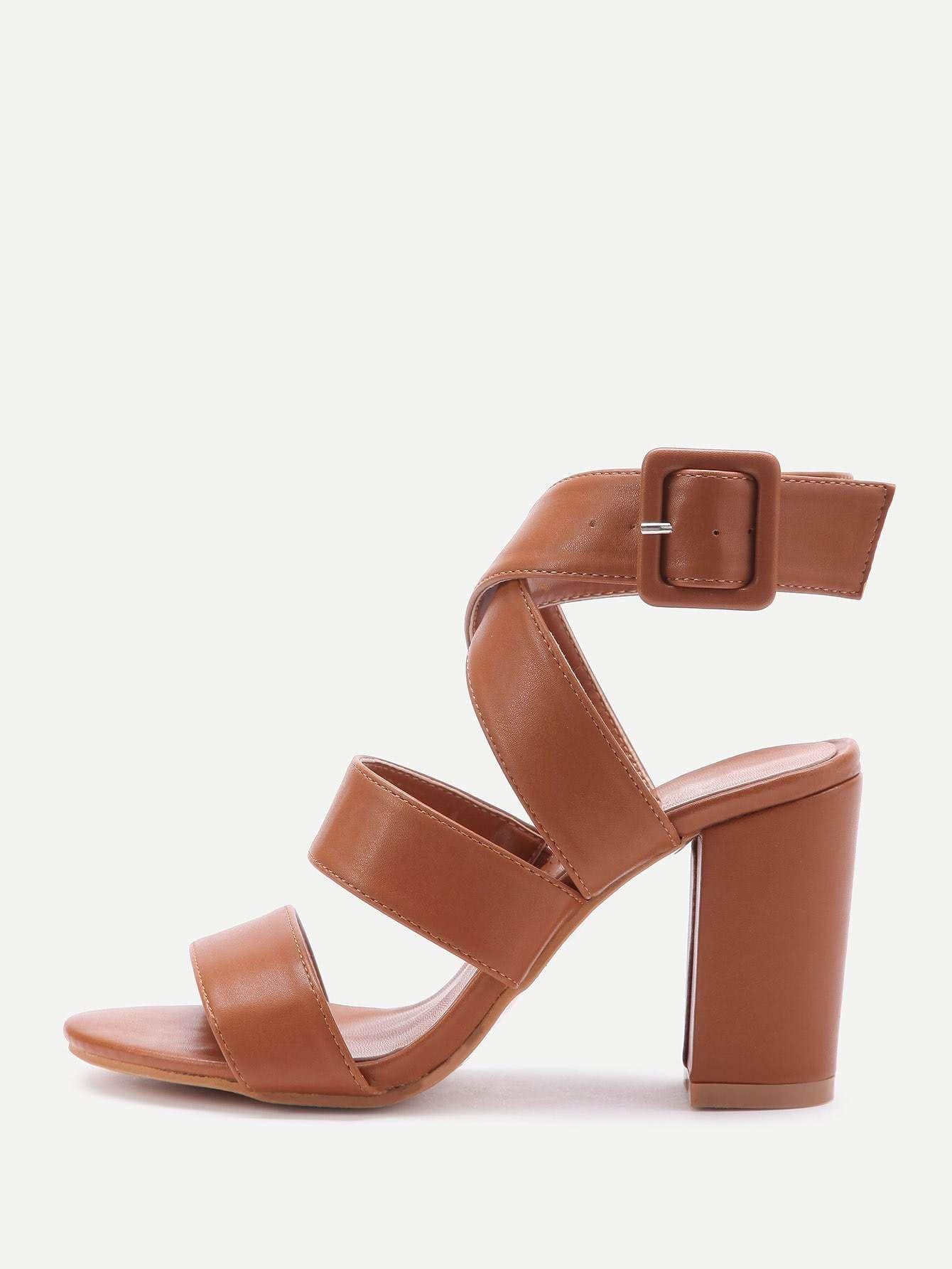 ecda220913c PU Criss Cross Block Heels With Buckle