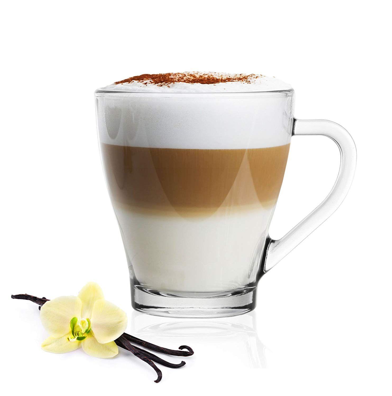 6 Cappuccinogläser Mit Henkel Und 6 Edelstahl-Löffeln