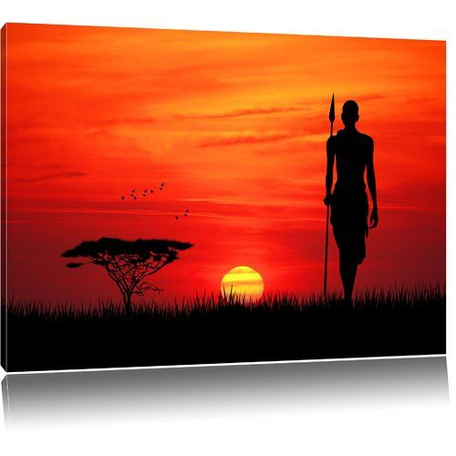 Pixxprint Red Sunset in Africa Graphic Print on Canvas | Wayfair.co.uk