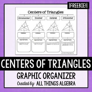Centers Of Triangles Graphic Organizer Graphic Organizers Teaching Mathematics Triangle Worksheet