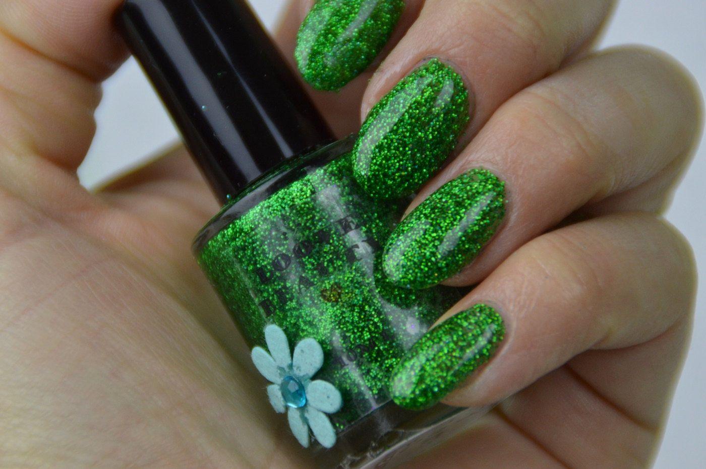Green Tea- Green Glitter Nail Polish by LooveBeauty on Etsy | Nails ...