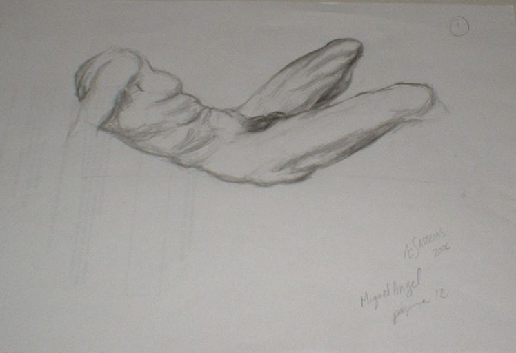 Male Nude. Sketch. A4 page. ©2006 Æ Sastrias. Based on some Michael Angelo's images