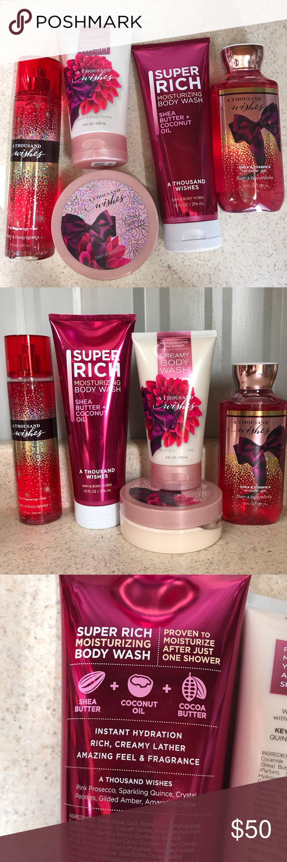 045d55a3e6506 A thousand wishes set of 5 items Brand new from bath and body works! 1000  wishes  Creamy body wash Fragrance mist Shower gel Body butter Moisturizing  body ...