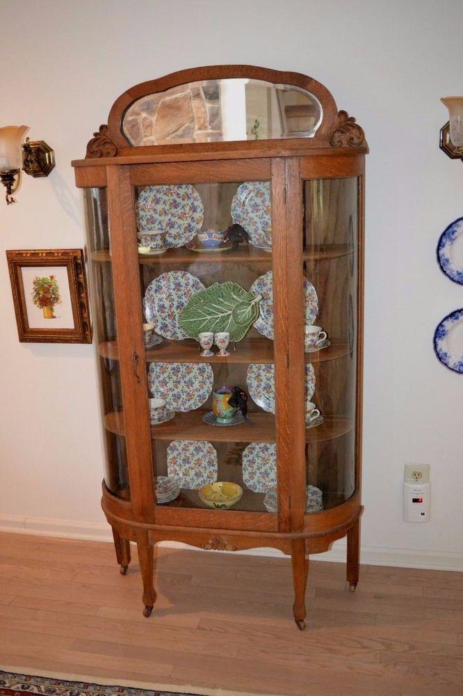 Larkin Soap Furniture Company Antique Bow Front Quarter Sawn Golden Oak  Cabinet #Victorian #LarkinsoapFurnitureCompany