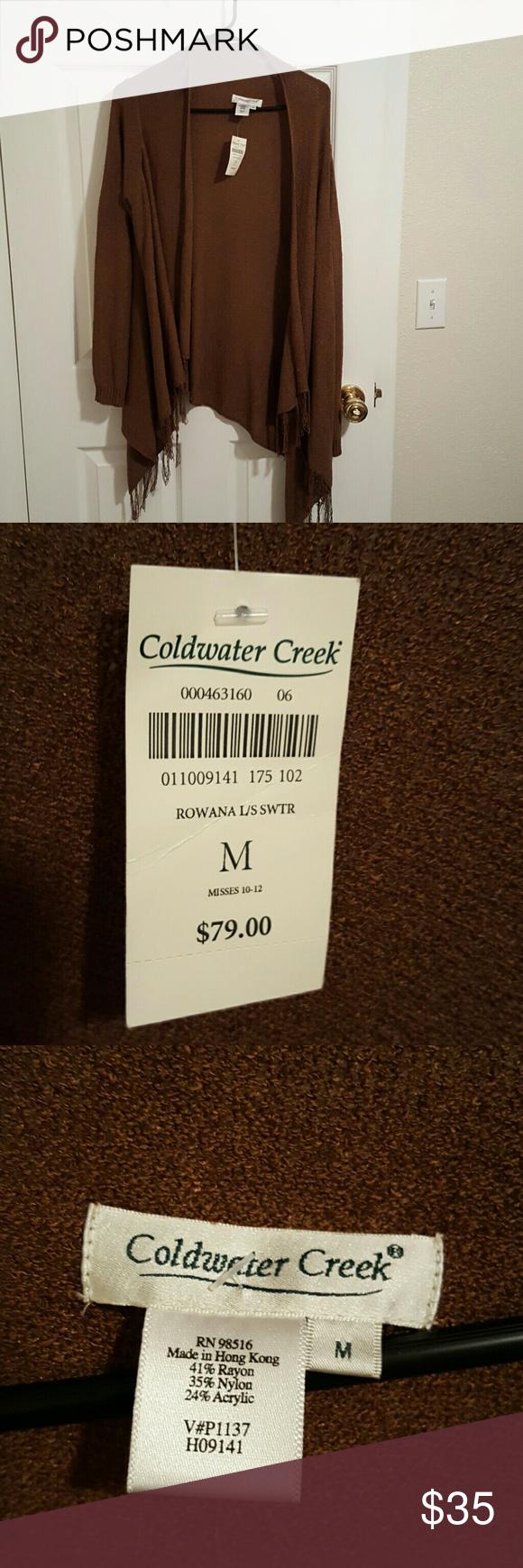 Coldwater Creek Rowana LS Cardigan Sweater NWT $79.  Long sleeve size medium fringed cardigan sweater. Coldwater Creek Sweaters Cardigans
