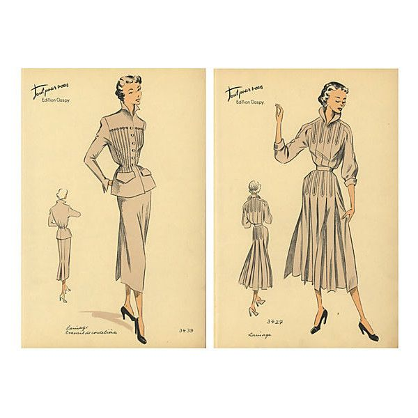 Pre-Owned Pair of French Fashion Prints 1950 (130 CAD) ❤ liked on ...