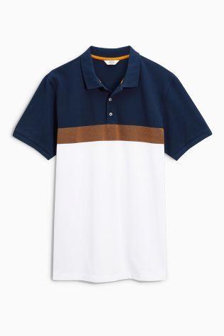 5b0ebe088 Buy Navy/Ochre Chest Stripe Polo from the Next UK online shop | K ...