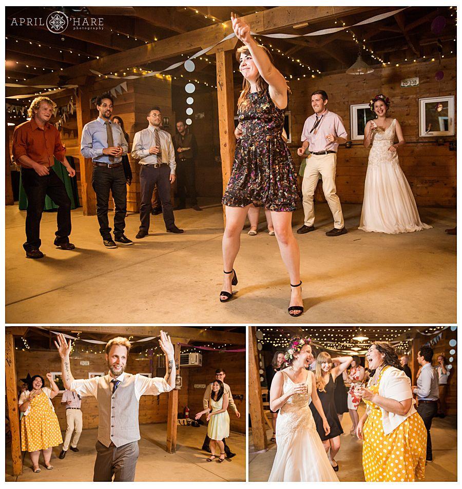 Wedding reception dancefloor inside the barn Denver Botanic Gardens ...