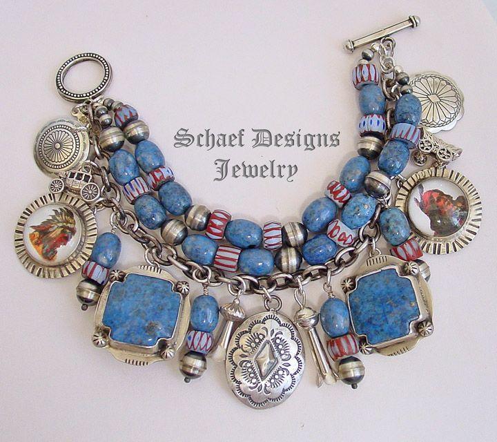 Schaef Designs VJP Rocki Gorman, bridle rosette denim lapis & Vintage Charm bracelet   | New Mexico