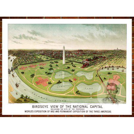 Ted\u0027s Vintage Art Map of Washington, DC 1892; Old DC Decor 24 inch